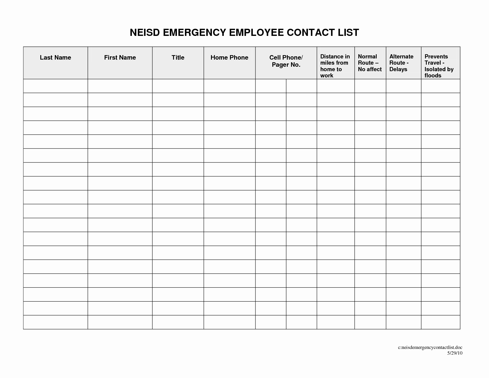 Emergency Contact List for Business Beautiful Business Contact List Template Portablegasgrillweber