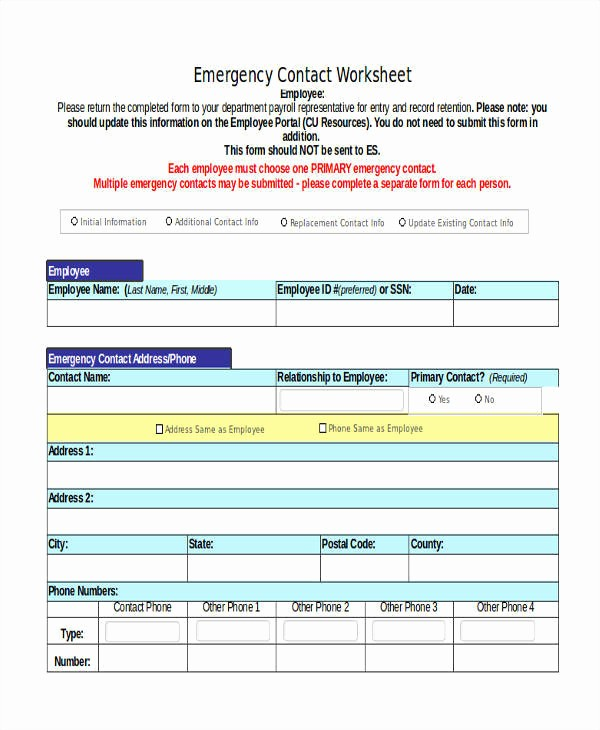 Emergency Contact List for Business Best Of 21 List Samples In Excel