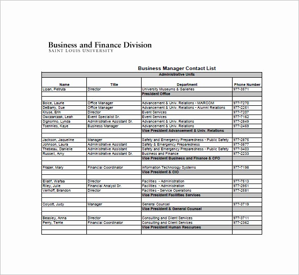 Emergency Contact List for Business Best Of Contact List Template 10 Free Word Excel Pdf format