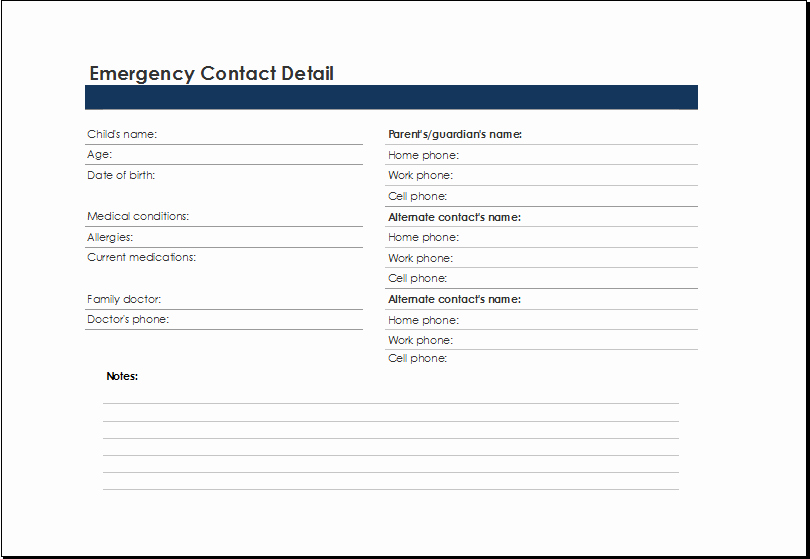 Emergency Contact List for Business Fresh Printable Excel Emergency Contact List Template