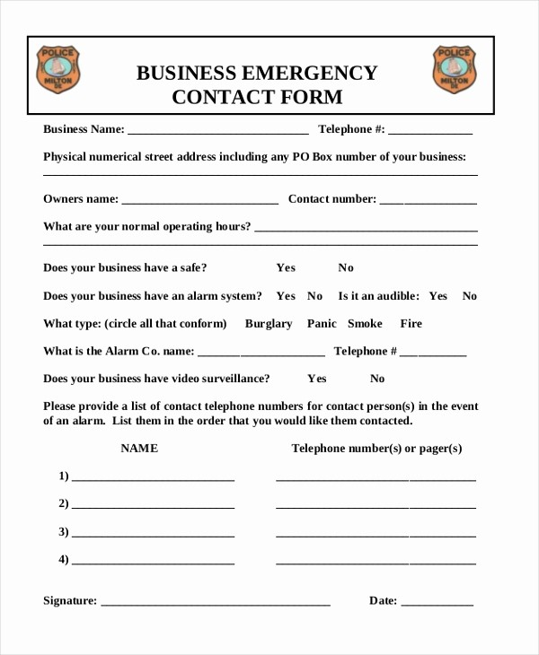 Emergency Contact List for Business Fresh Sample Emergency Contact form 11 Free Documents In Word