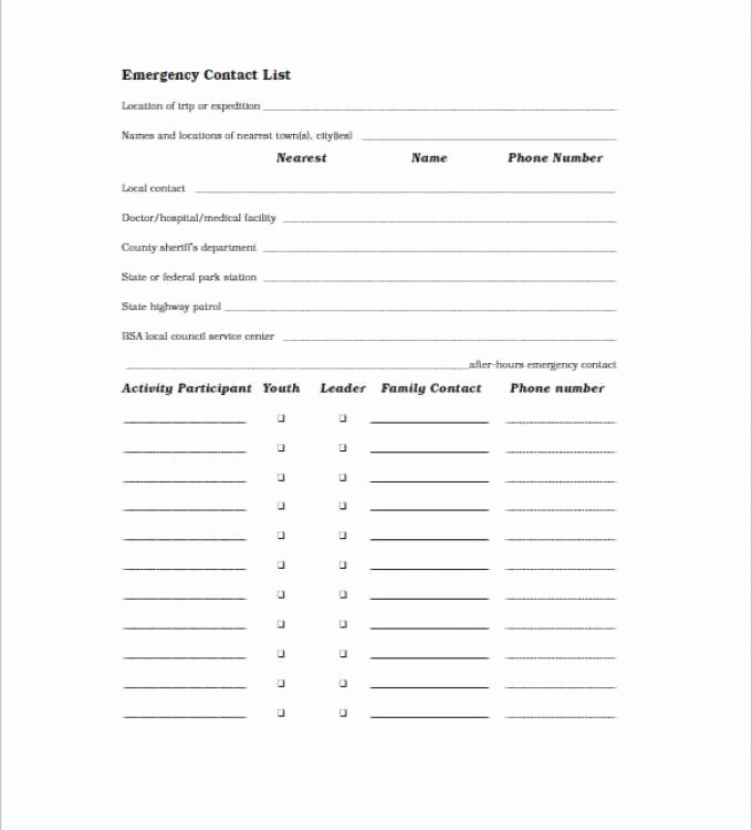 Emergency Contact List for Business Inspirational Lovely Business Emergency Contact List Template