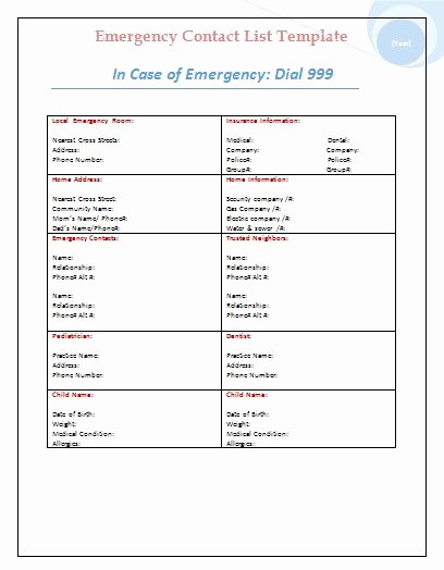 Emergency Contact List for Business Lovely Emergency Contact List Template