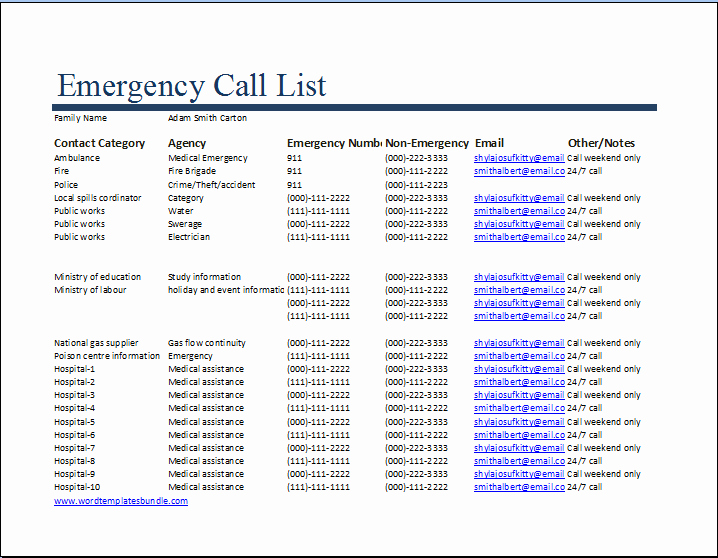 emergency call list