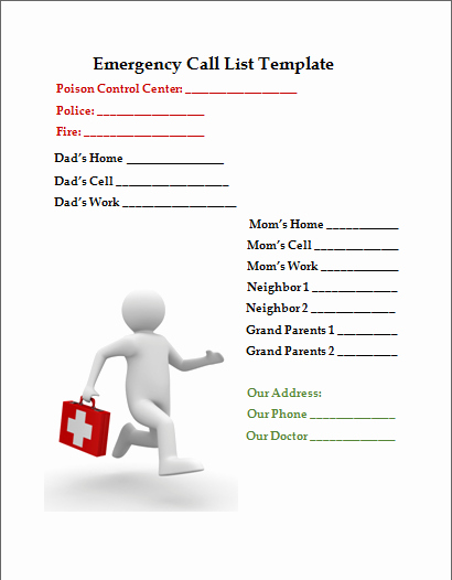 Emergency Contact List for Business New Emergency Call List Template Business