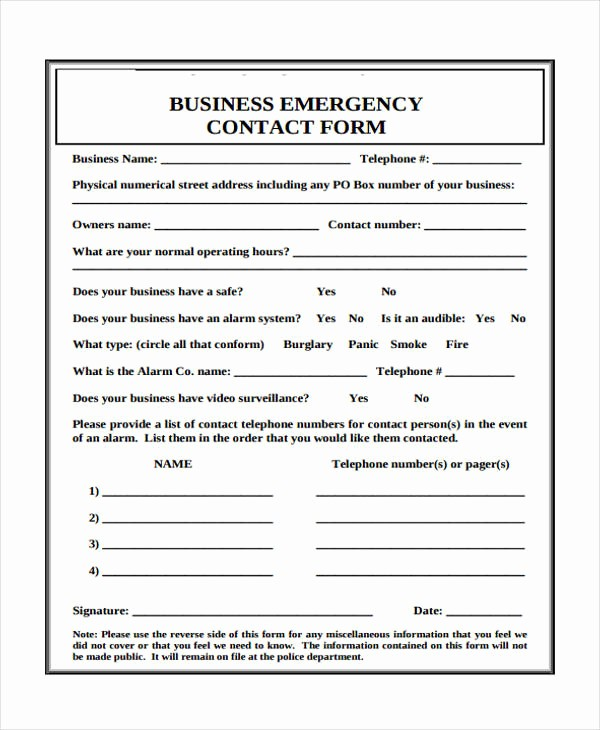 Emergency Contact List for Business Unique 32 Emergency Contact form Example