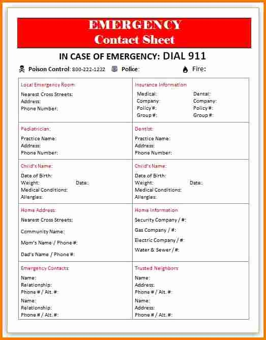 Emergency Contact List for Business Unique Emergency Contact Template