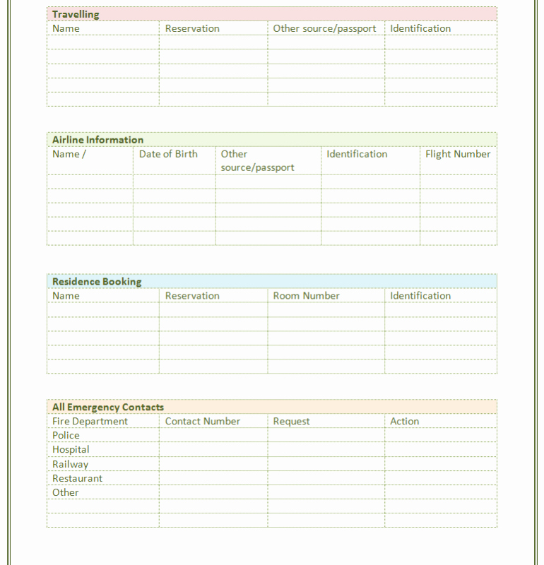 Emergency Contact List for Business Unique Paper Contact List Template