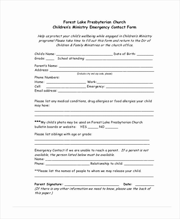 Emergency Contact List for Kids Awesome 34 Emergency Contact forms