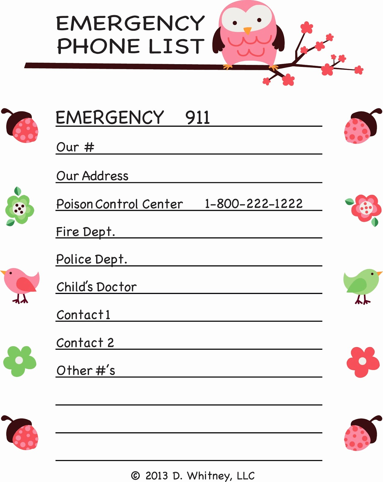 Emergency Contact List for Kids Awesome Parking Pal Emergency Phone List