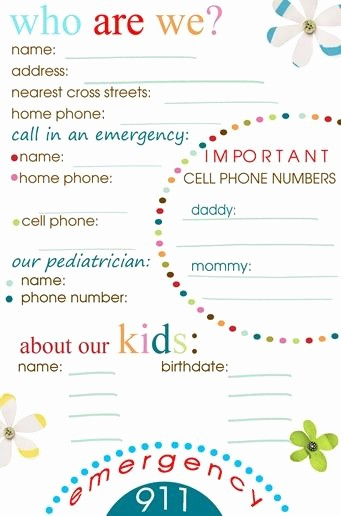 Emergency Contact List for Kids Beautiful Emergency Phone Station Printable Girl Scouts