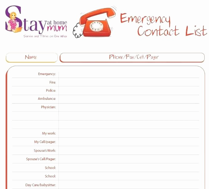 Emergency Contact List for Kids Best Of Emergency Phone Number List Template Download by Free