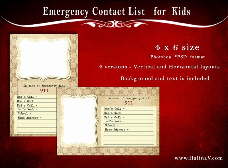 Emergency Contact List for Kids Best Of Free Psd Template Emergency Contact List for Kids