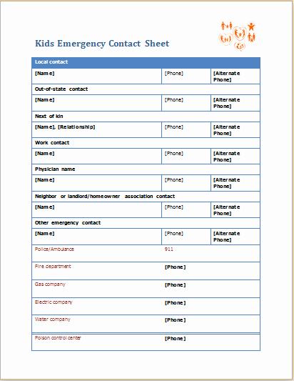 kids emergency contact sheet