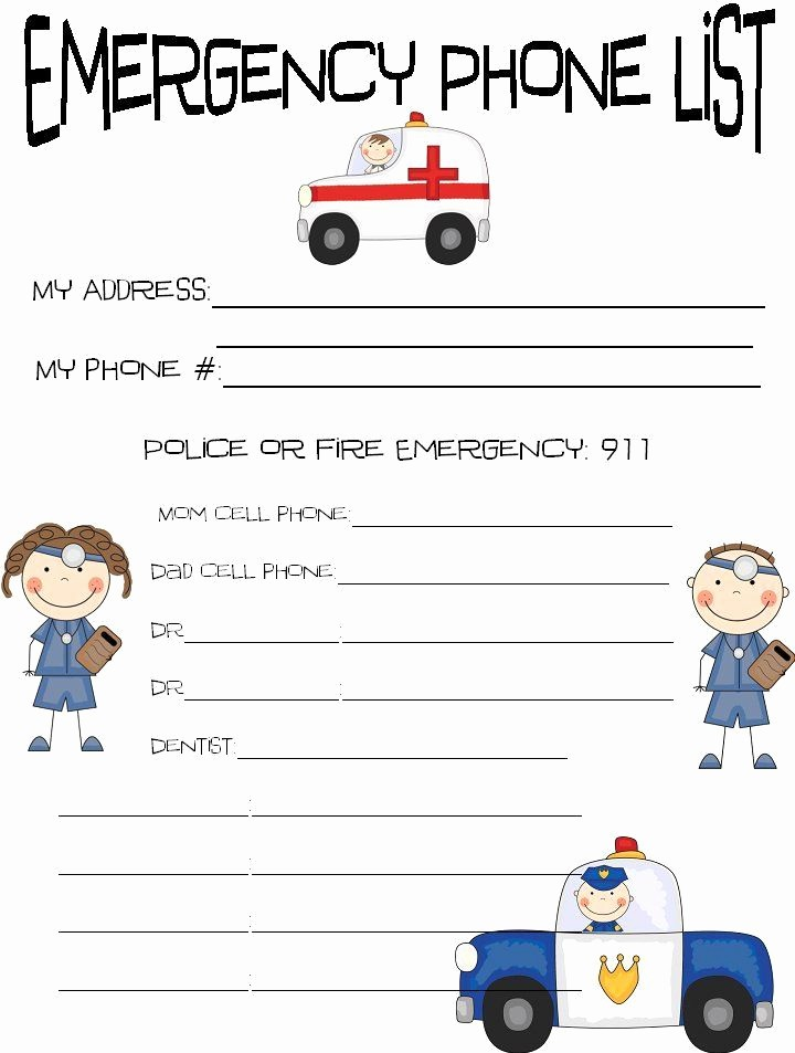 Emergency Contact List for Kids Best Of Printable Emergency Contact Sheet Kids