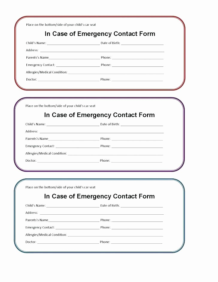 Emergency Contact List for Kids Elegant Emergency Contact List Template Number Employee Details