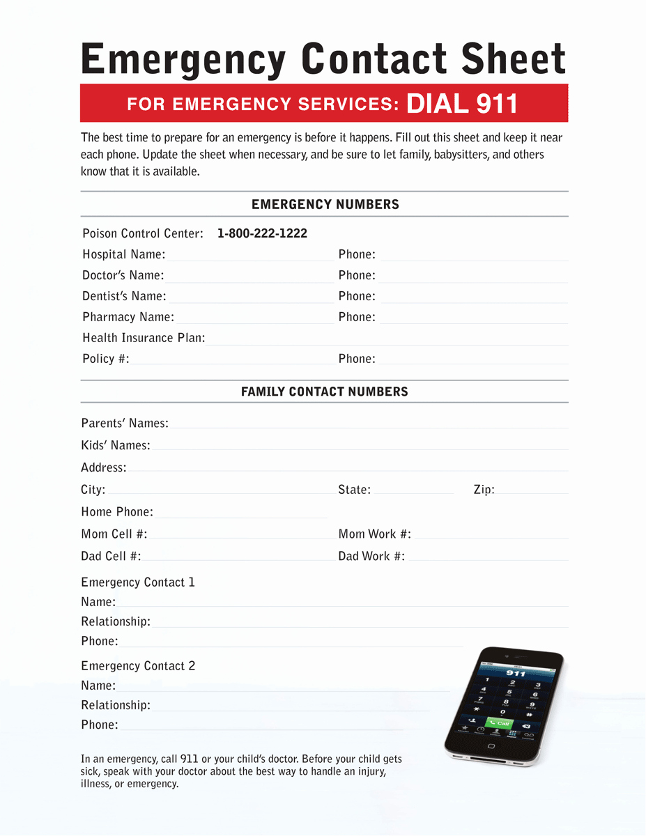 Emergency Contact List for Kids Fresh Emergency Contact Sheet Connecticut Children S Medical