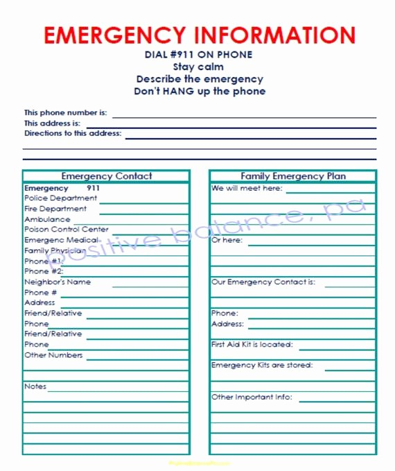 Emergency Contact List for Kids Fresh Items Similar to Printable Emergency Contact List for