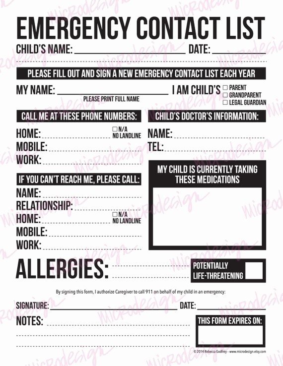 Emergency Contact List for Kids Luxury Emergency Contact form for Nanny Babysitter or Daycare