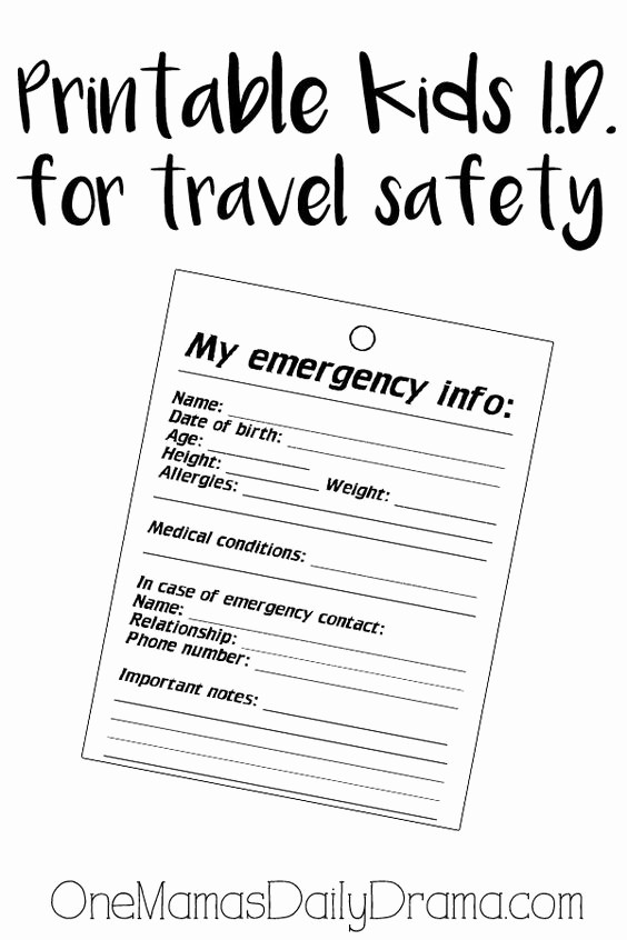 Emergency Contact List for Kids New Pinterest • the World's Catalog Of Ideas