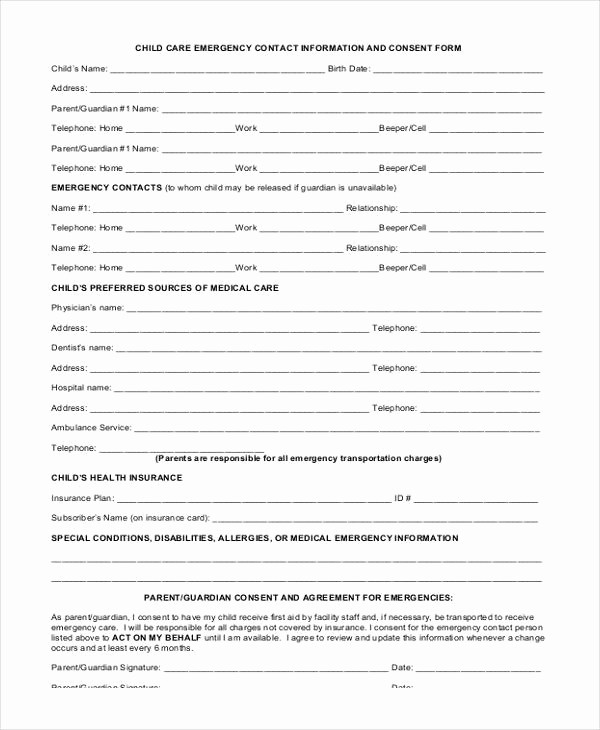 Emergency Contact List for Nanny Awesome 34 Emergency Contact forms