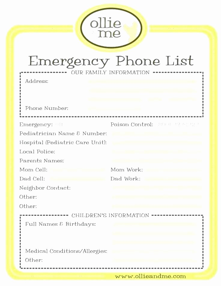 Emergency Contact List for Nanny Awesome Emergency Phone Number List Template Basic Good Contact