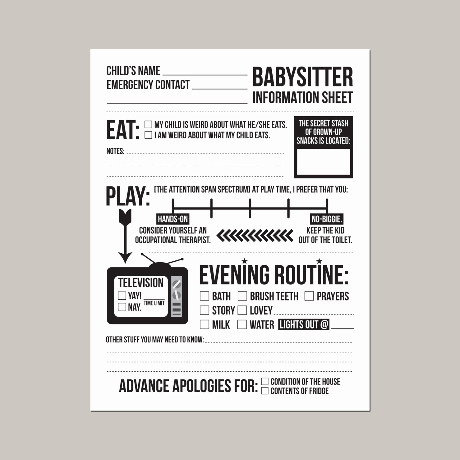 Emergency Contact List for Nanny Awesome Instant Able Babysitter Information Sheet