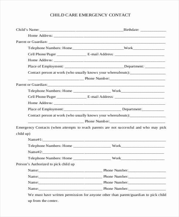 Emergency Contact List for Nanny Beautiful Sample Emergency Contact form 11 Free Documents In Word