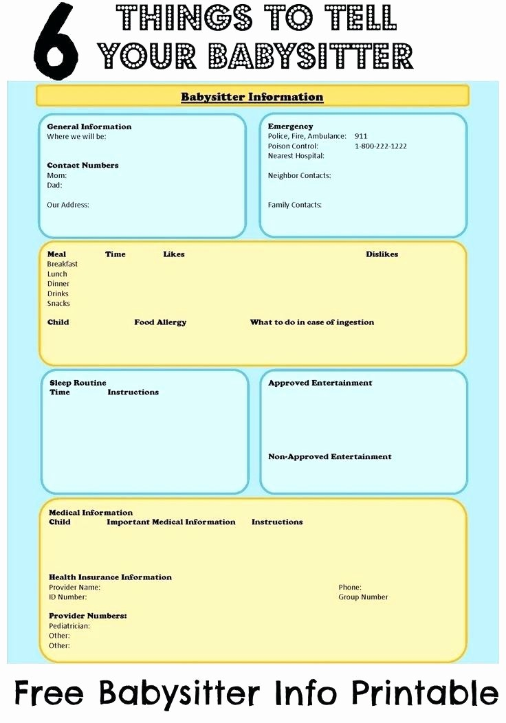 Emergency Contact List for Nanny Best Of Babysitter Information Sheet Template Checklists Checklist