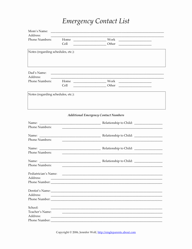 Emergency Contact List for Nanny Best Of Reasons to Keep Your Child S Emergency Contact form Up to