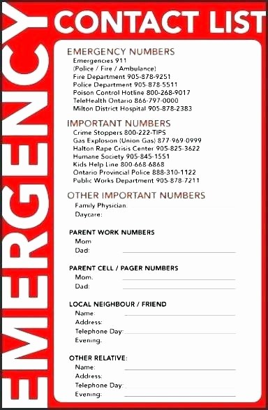 Emergency Contact List for Nanny Fresh Emergency Contact List Template Excel Phone Download for Nanny