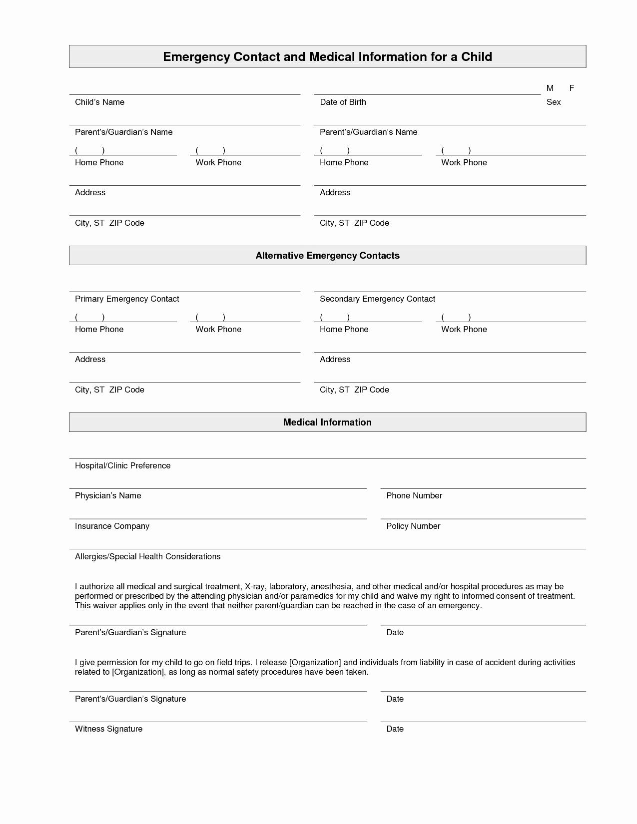 Emergency Contact List for Nanny Fresh Printable Emergency Contact form Template