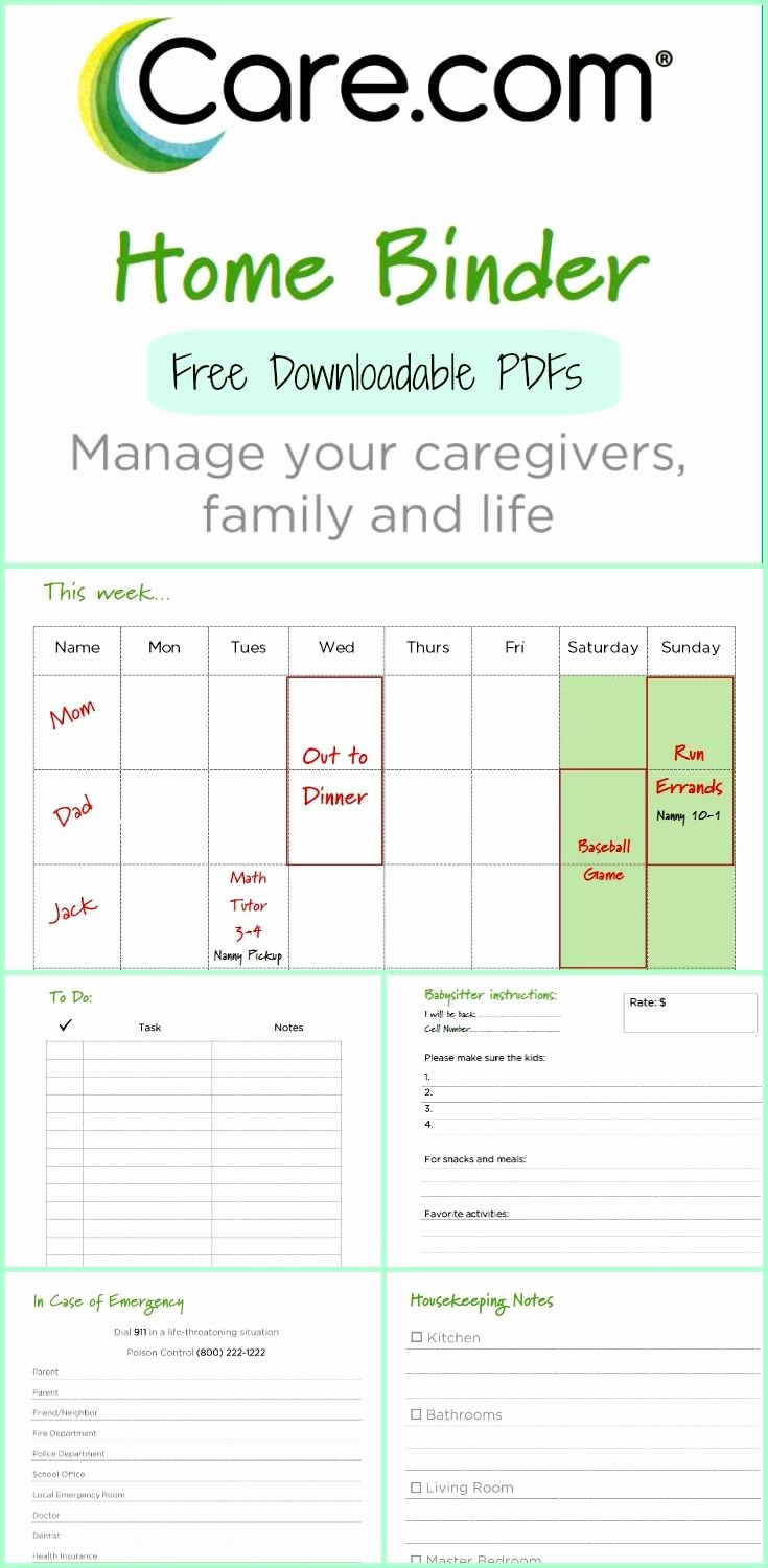 Emergency Contact List for Nanny Lovely the Care Home Binder