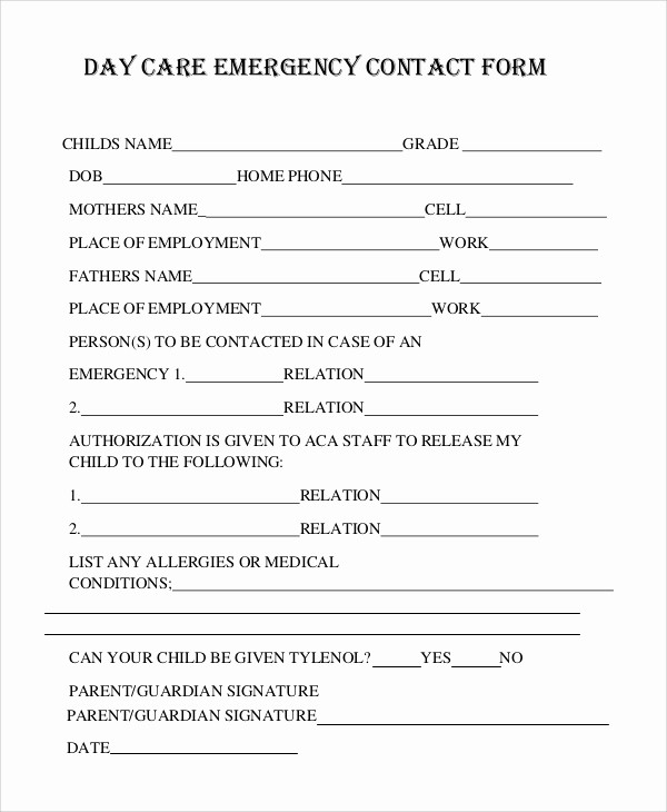 Emergency Contact List for Nanny Luxury 8 Sample Emergency Contact forms – Pdf Doc