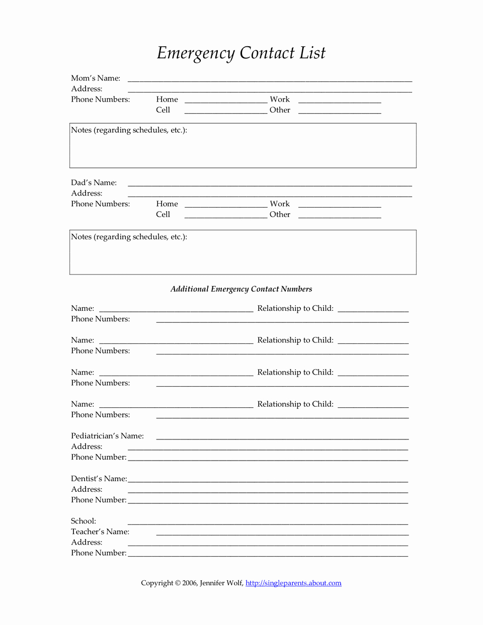 Emergency Contact List for Nanny New form Templates Child Care Emergency Contact form Child