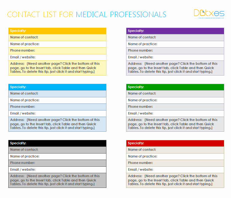 Emergency Contact List Template Excel Awesome Medical Contact List Template for Word Dotxes