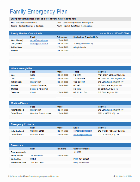 Emergency Contact List Template Excel Beautiful Emergency Contact form and Emergency Card Template