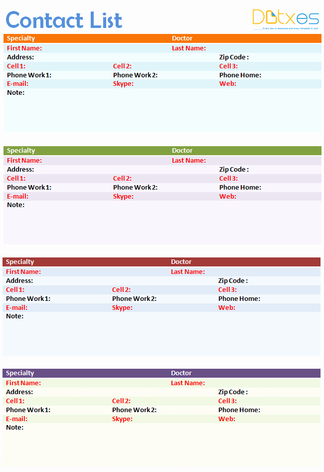 Emergency Contact List Template Excel Lovely Contact List Template 4 Per Page Dotxes
