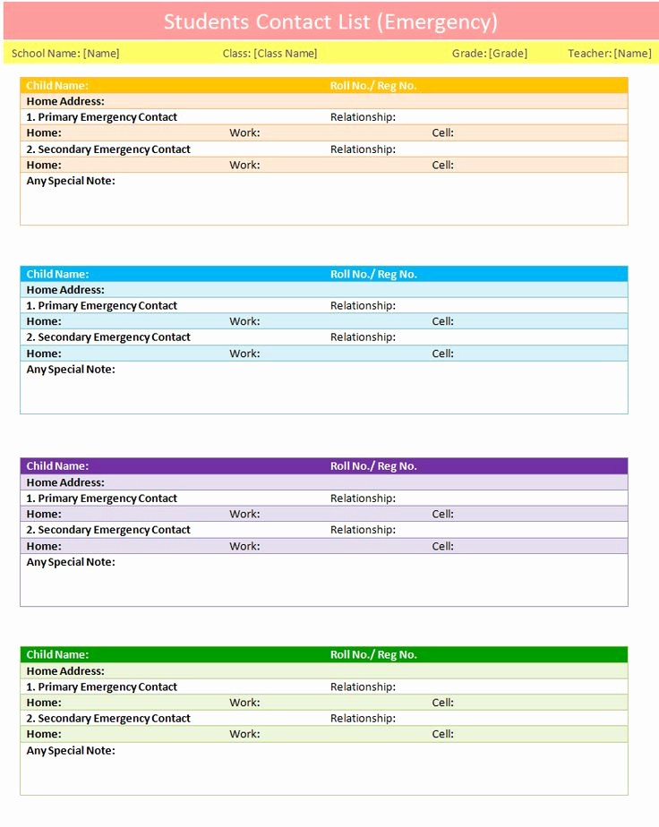 Emergency Contact List Template Excel Lovely Students Contact List Template to Use In Case Of Emergency
