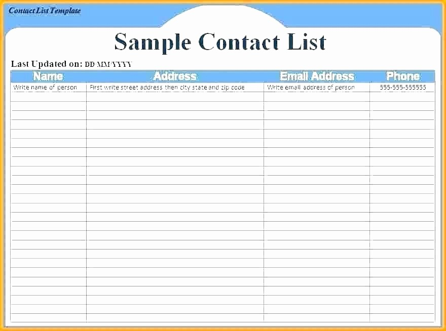 Emergency Contact List Template Excel Luxury Emergency Contact List Template Excel Phone Download for Nanny