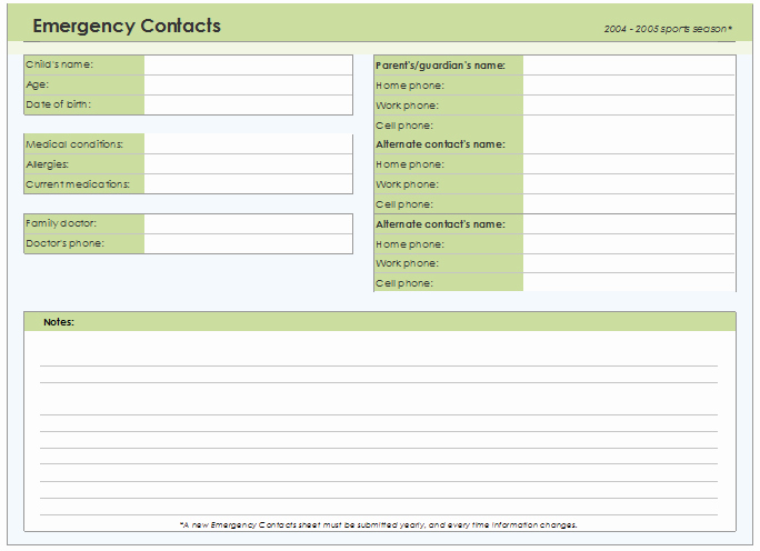 Emergency Contact List Template Excel New Emergency Contact form Template for Every Field
