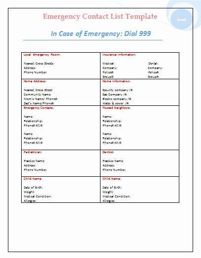 Emergency Contact List Template Excel New Emergency Contact List Template