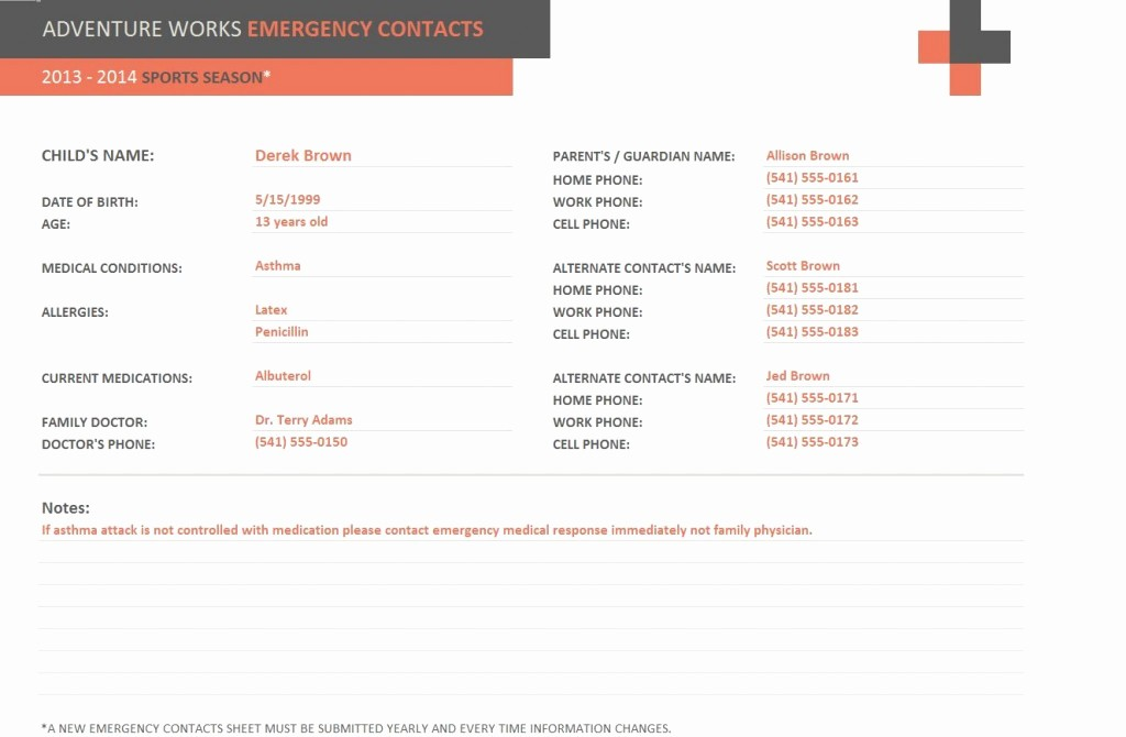 Emergency Contact List Template Excel Unique Emergency Contact form Template