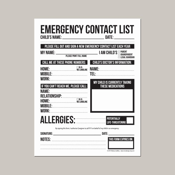 Emergency Contact Sheet for Nanny Awesome Emergency Contact form for Nanny Babysitter or Daycare