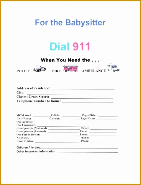 Emergency Contact Sheet for Nanny Beautiful Emergency Contacts for Babysitter