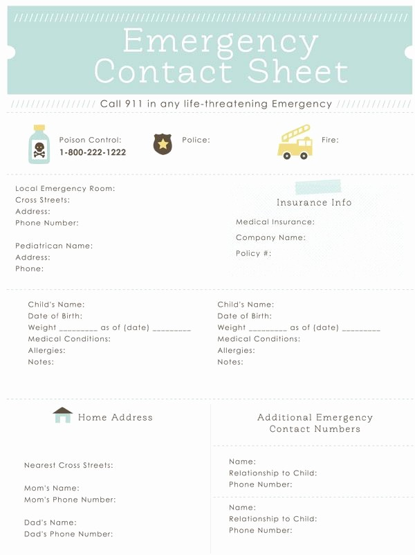 Emergency Contact Sheet for Nanny Best Of Emergency Contact Sheet Printable Great for the