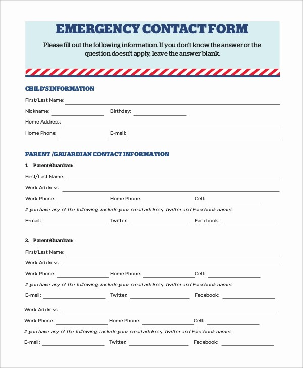 Emergency Contact Sheet for Nanny Fresh 8 Sample Emergency Contact forms – Pdf Doc