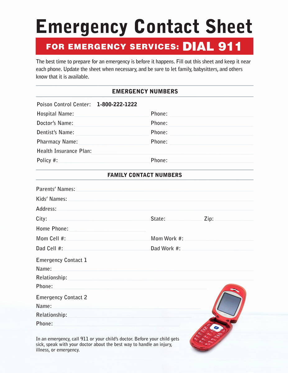 Emergency Contact Sheet for Nanny Fresh Babysitting Emergency Contact Sheet