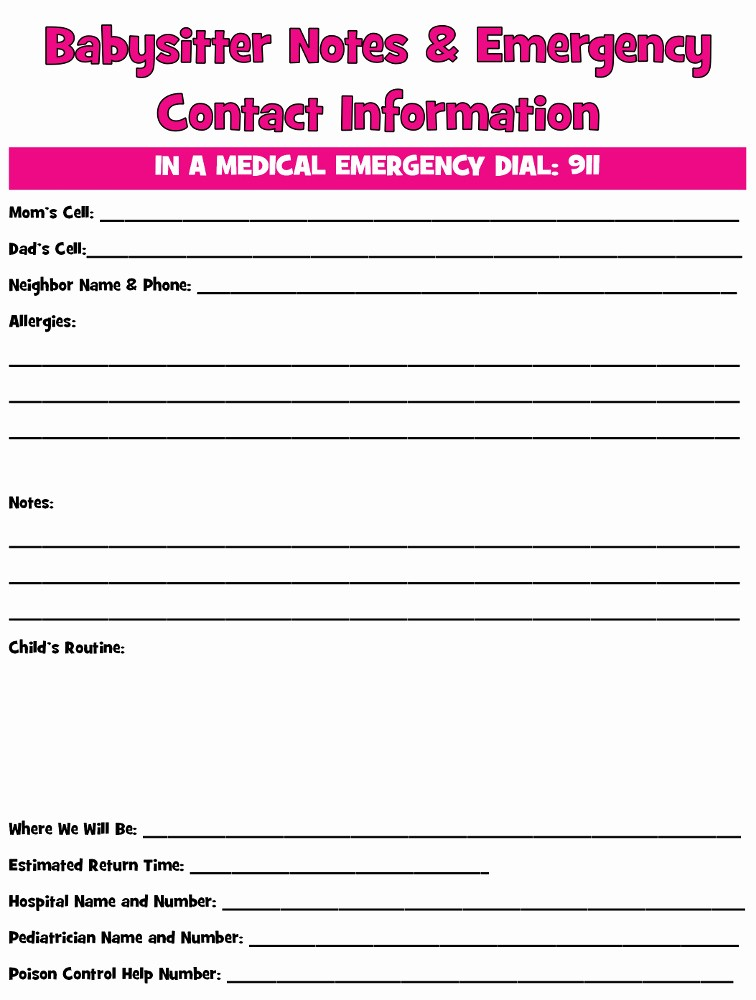 Emergency Contact Sheet for Nanny Fresh Cutting Down the Cost Of Babysitting Thrifty Little Mom