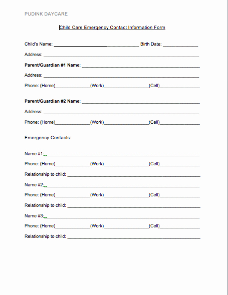 Emergency Contact Sheet for Nanny Fresh Free Daycare forms